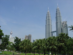 Nicely framed shot of Menara KL (KL Tower) and the Twin Towers, by Peter MacDonald