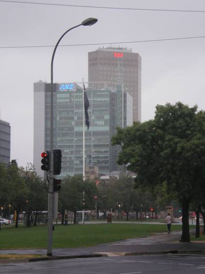 ANZ and Westpac bank buildings on an appropriately drizzly day in central Adelaide