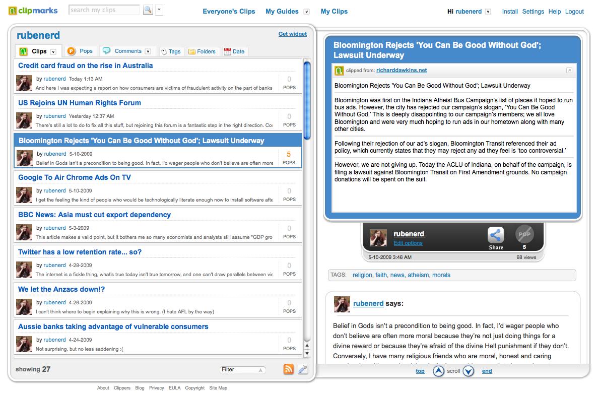 Screenshot showing Clipmarks
