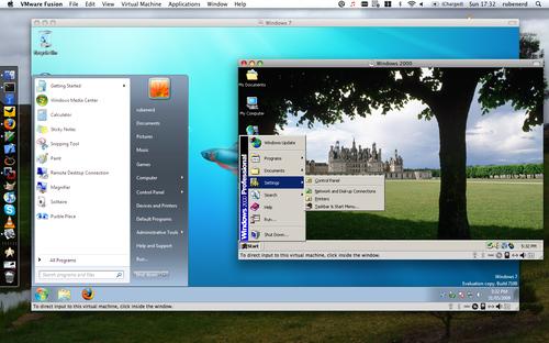 Screenshot showing Windows 2000 and Windows 7