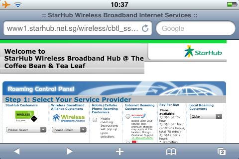 StarHub Wireless@SG on an iPhone using WiFi