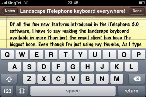 Landscape keyboard in iPhone 3.0