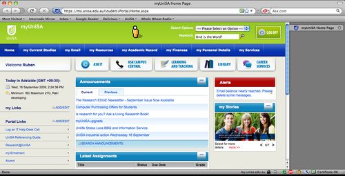 New MyUniSA in Firefox 3.0.14