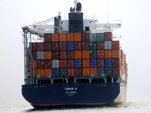 Container ship in the Straits of Singapore