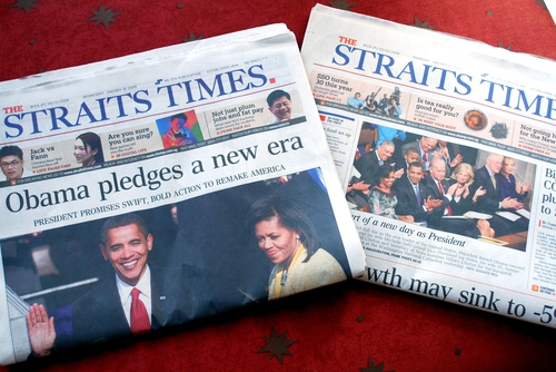 Obama in the Singapore papers