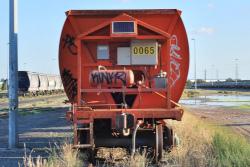 An orange railcar