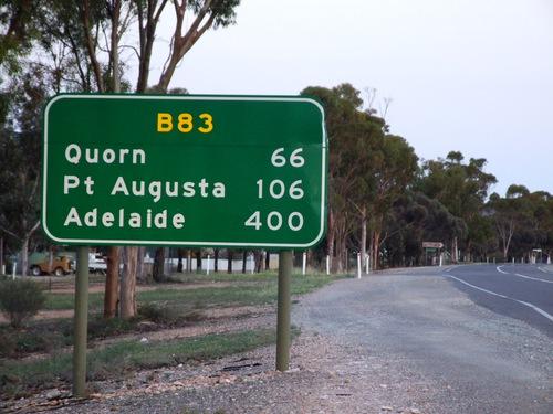 Road sign in the Flinders Ranges in South Australia