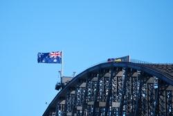 Flags above the bridge