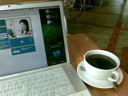 Morning coffee, free wifi, Twitter