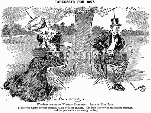 Old cartoon showing a man and a woman wearing topats with antennas for communication. The caption reads: Development of Wireless Telegraphy. Scene in Hyde Park.