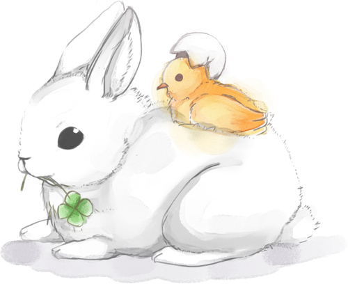 Art by 綾兎 of a cute bunny and a duck nomming on clover.