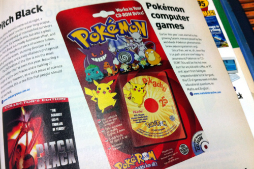 Photo of a magazine showing an article about Pokémon computer game.