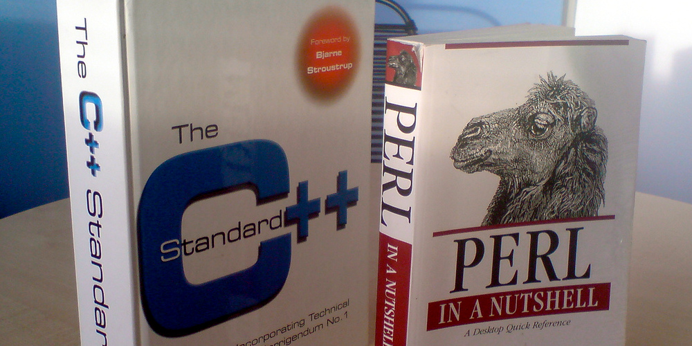 C++ and Perl programming tomes, photo by Thomas Guest on Flickr