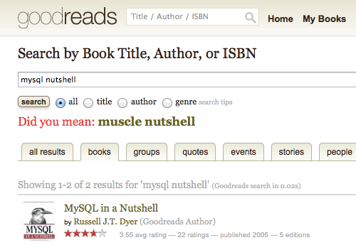 Goodreads: Did you mean muscle nutshell?