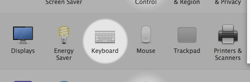Screenshot of the Keyboard preference pane in System Preferences on Mavericks