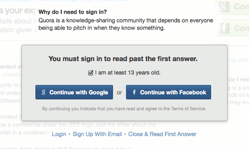 Quora: You must sign in to read past the first answer