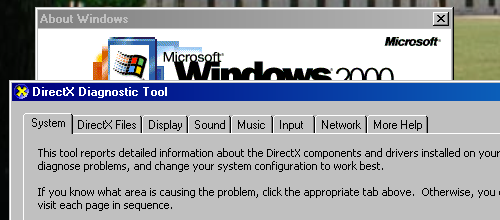 Windows 2000 with the DirectX Diagnostic Tool and a nostalgic bundled wallpaper!