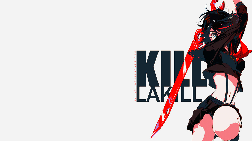 Desktop background with Ryouko and her half-scissor weapon overlayed above text reading 'Kill la Kill'