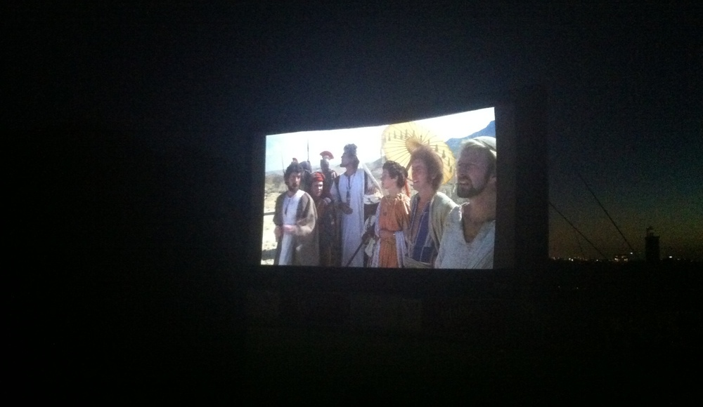 Photo of the outdoor screen showing Life of Brian