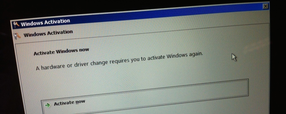Windows 7 product activation message