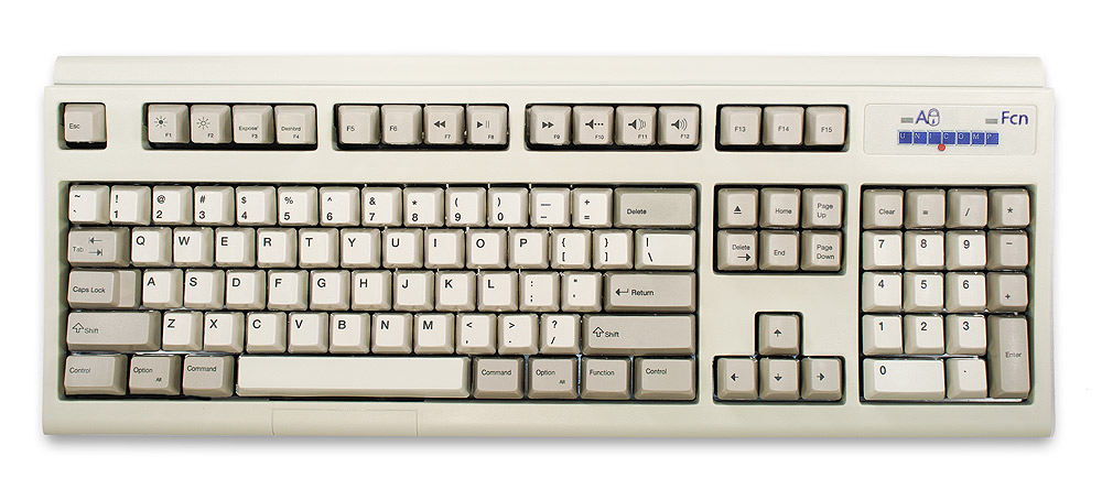 The Unicomp Spacesaver M White Buckling Sping USB keyboard