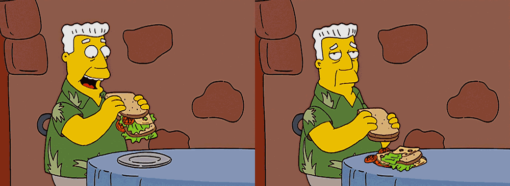Kent Brockman and his sandwich filling