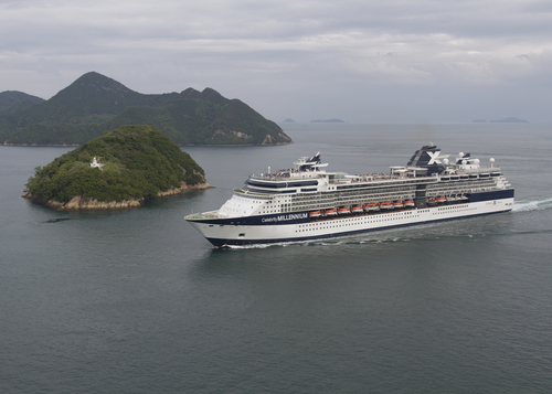Photo of the Celebrity Millennium in the Kurushima Strait, by Spaceaero2 on Wikimedia Commons.