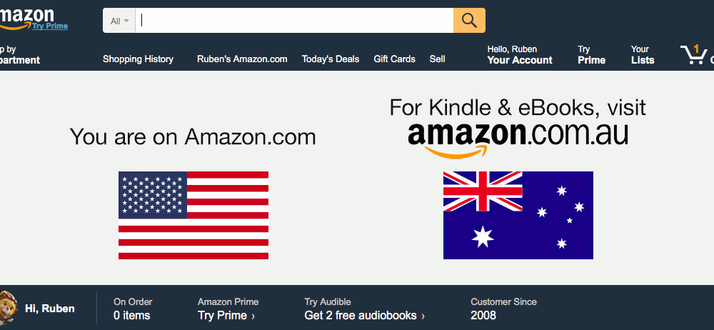 Flags on the Amazon site