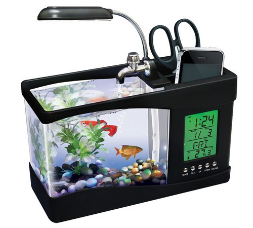 Photo showing the aforementioned fish tank alarm clock pen holder light thingy.