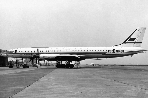Photo of an Aeroflot Tupolev Tu-114 with additional Japan Air Lines titles