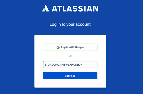Atlassian login form with a single username textbox.