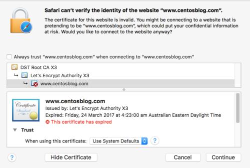 Expired Let's Encrypt certificate warning in Safari