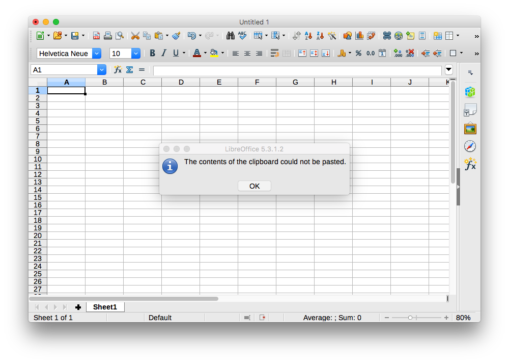 Pasting HTML into LibreOffice, with error saying The contents of the clipboard could not be pasted