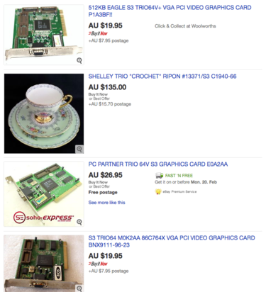 Tea cup listing in among lots of old school graphics cards