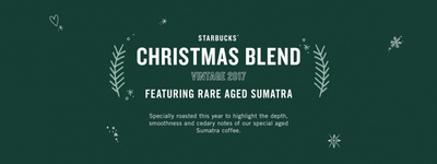 Screenshot from the Starbucks WiFi login page, advertising Rare Aged Sumatra Christmas coffee