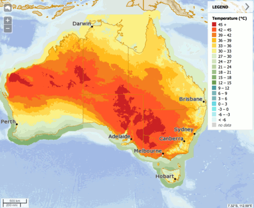 Map of Australia for Saturday with temperatures above 40 degrees over large parts