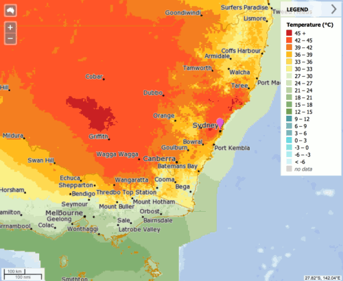 Map of New South Wales for Sunday with temperatures above 40 degrees over large parts