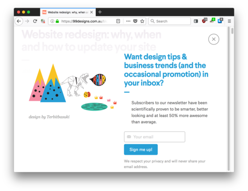Screenshot of a design site with a full page popup