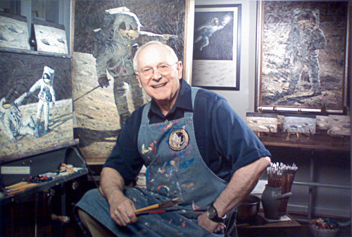 Photo of Alan Bean in his studio