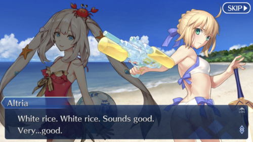 White rice. White rice. Sounds good. Very...good
