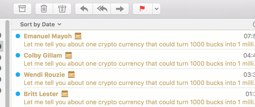 Screenshot showing four identical Bitcoin spam messages