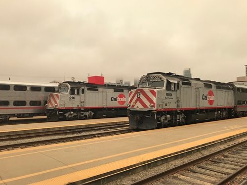 Idling locomotives at the Caltrain San Francisco station
