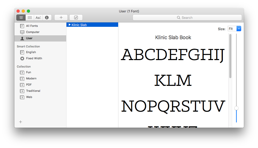 Font Book showing KLM in the middle line of the font preview