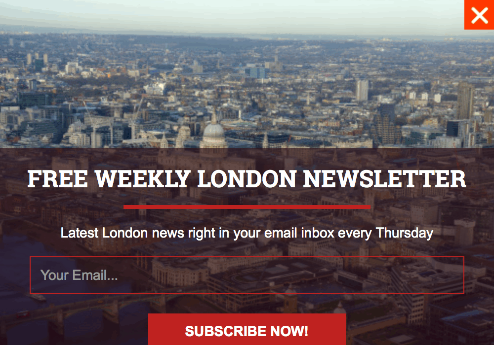 Lightbox popup appearing on a blog, asking for us to subscribe to their newsletter