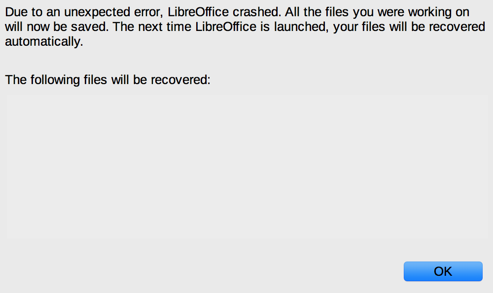 LibreOffice 6.0 Document Recovery error dialogue box