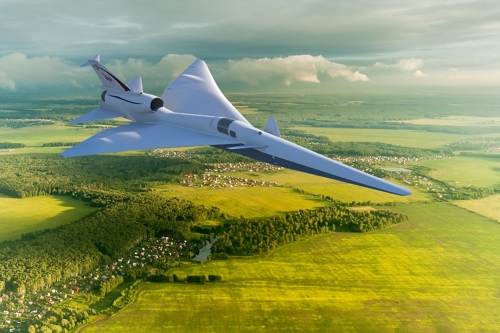 Mockup concent photo of the X-59 flying over a rural town