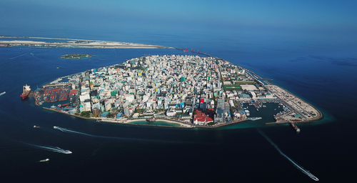 Aerial photo of Malé in Mauritius