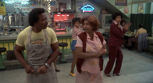 Matt Guitar Murphy and Aretha Franklin in The Blues Brothers