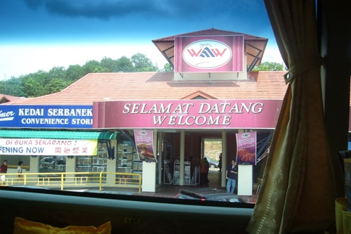 Welcoming rest stop with a Selamat Datang! sign