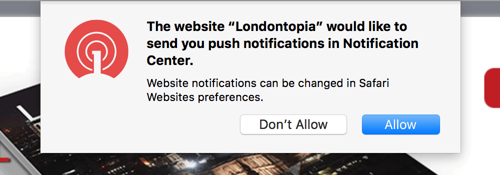 Safari popup dialogue box from the same blog asking if we want notifications from their site